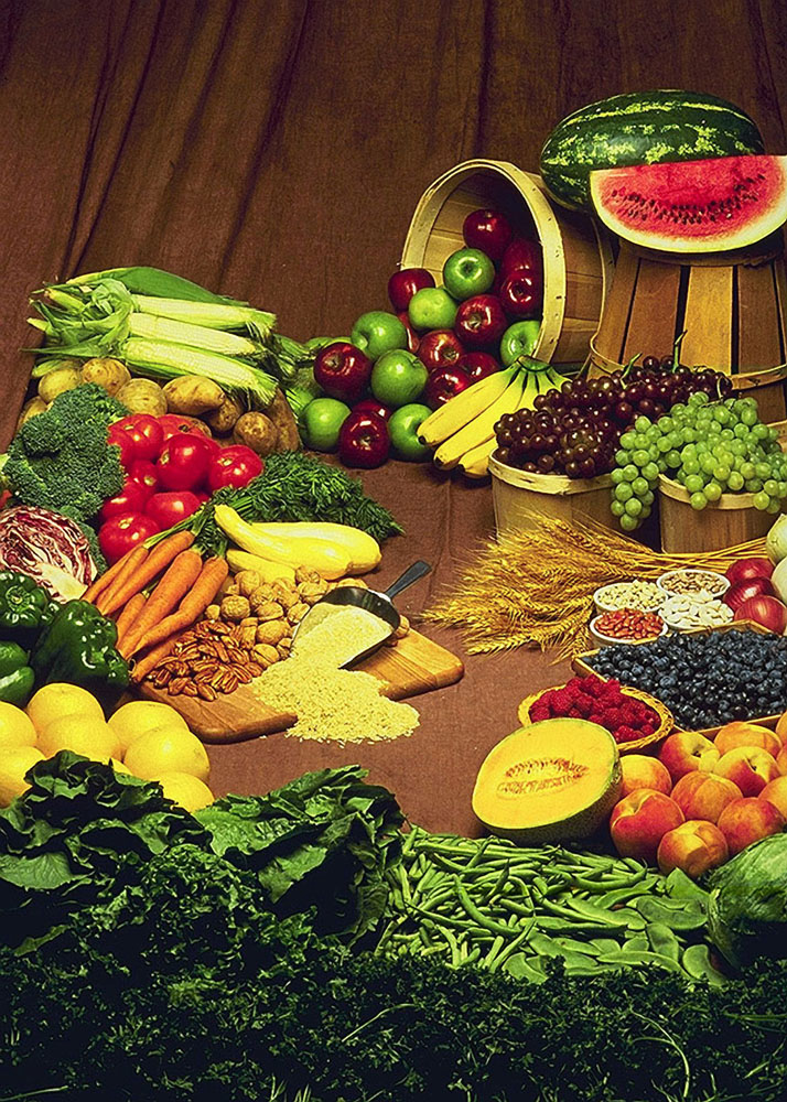 Mixture of fruits and vegetables.