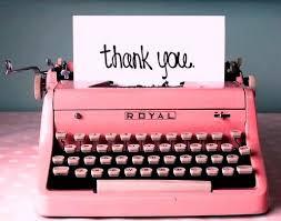 images pink typewriter thank you