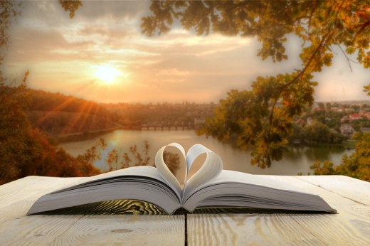 Open book at wooden table on natural blurred background. Heart b